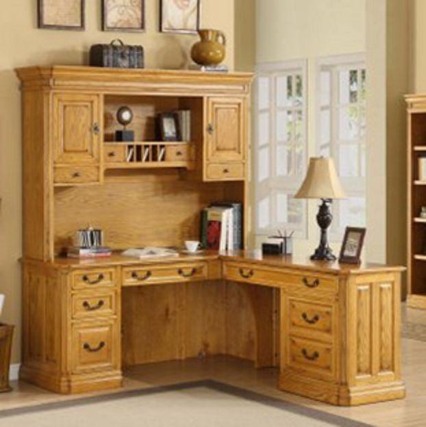 Whalen Golden Oak Cambria L Shaped Computer Return Desk With Hutch