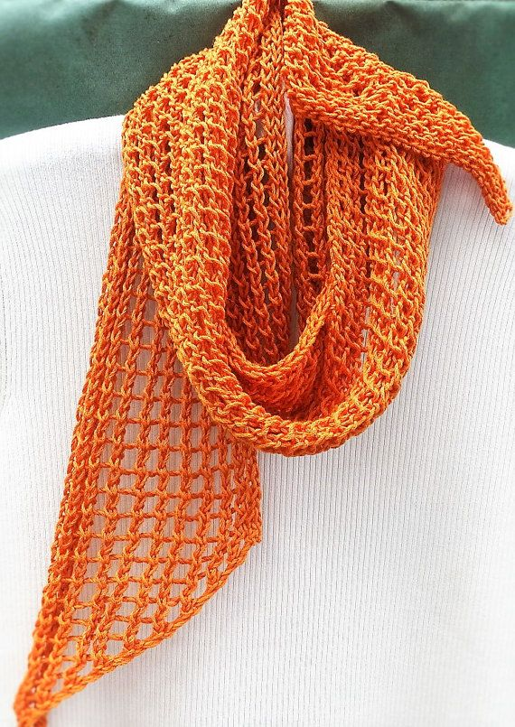 Scarf Hand Knit Orange Cotton Spring Summer Lacy Scarf Hand Knit ...