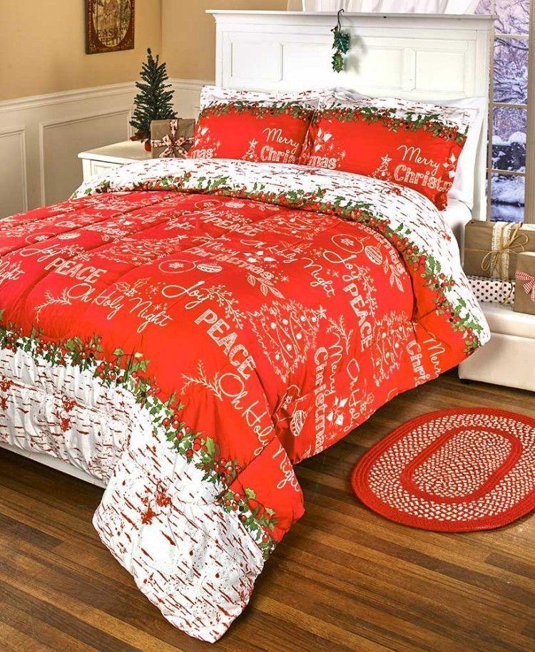Queen Christmas Comforter Set Chalkboard Greetings Comforters Red