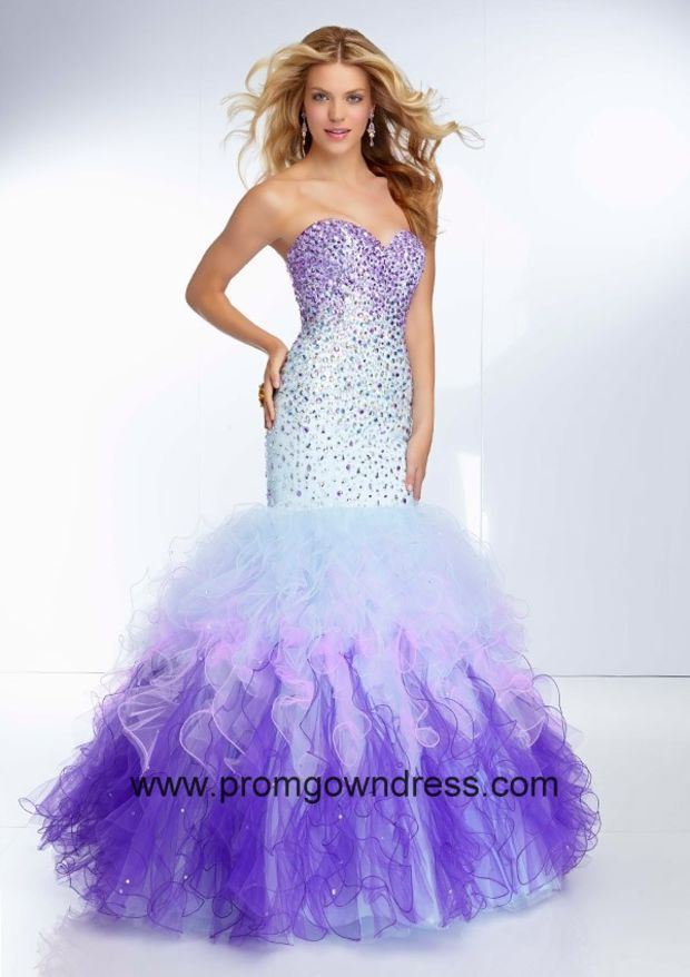 Luxurious Multi-color Mermaid Beading Ruffles Tulle 2014 Prom ...
