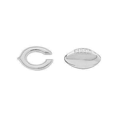 Chicago Bears Team Logo & Football Mismatch Stud Earrings