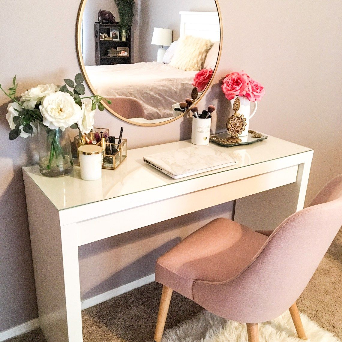 How To Style The Ikea Malm Vanity Table Dorothy Pro Blog Dressing Room Decor Bedroom Dressing Table White Dining Room Decor