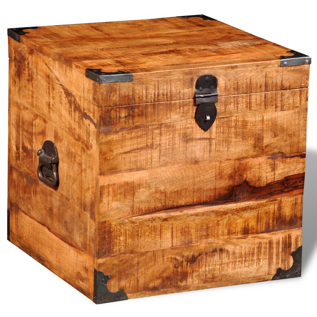 coffre carré en bois brut de manguier | meubles divers | pinterest