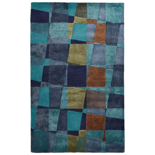 Contemporary Abstract Pattern Blue Green Wool And Art Silk Area Rug 2 X 3 Area Rugs Hand Tufted Rugs Rugs