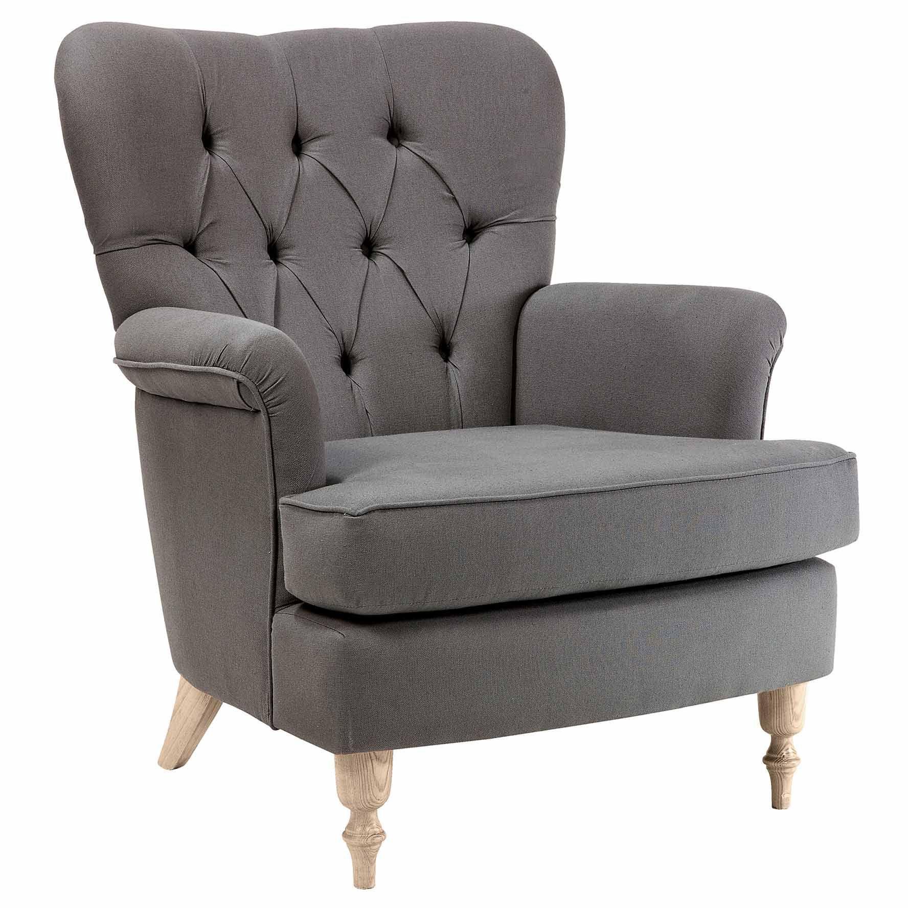 fauteuil tissu dossier capitonn avec pieds bois demeure. Black Bedroom Furniture Sets. Home Design Ideas