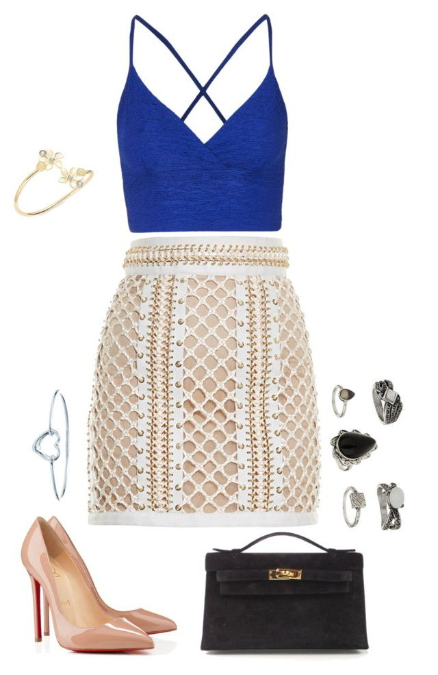 """""""Untitled #1188"""" by kkearis ❤ liked on Polyvore featuring Topshop, Balmain, Christian Louboutin, Hermès, Robert Rose and Tiffany & Co."""