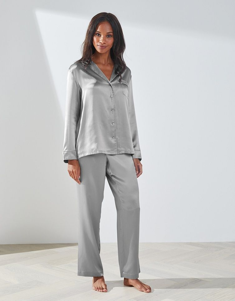 b9cb46f15464 Silk Piped Pyjama Set