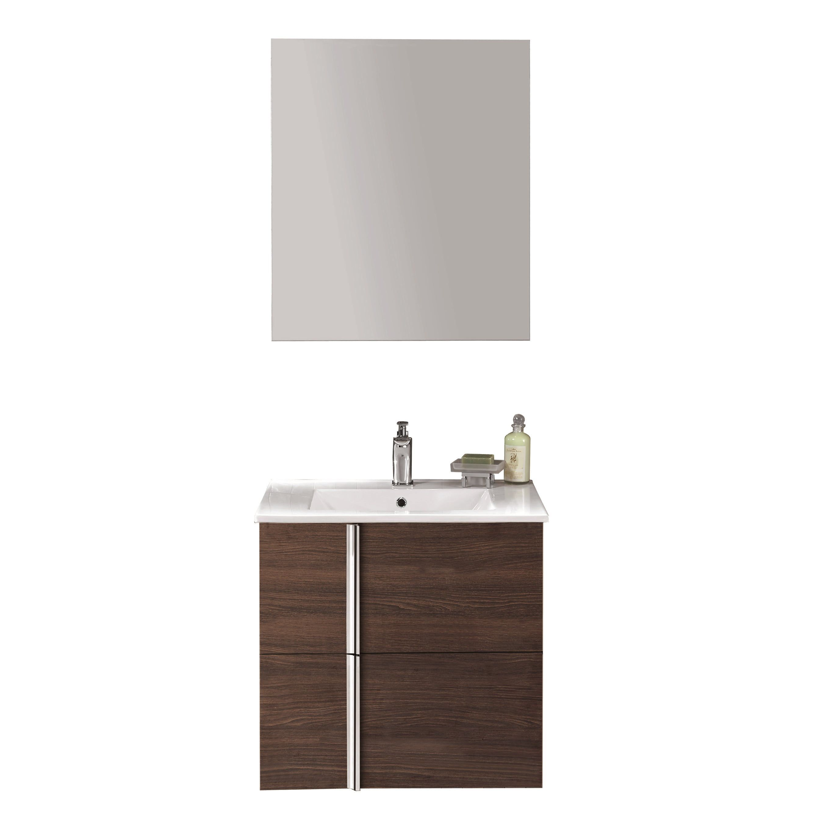 Onix Bathroom Vanity - 24 Two-Drawer (Sandy Wenge), Brown, Size ...
