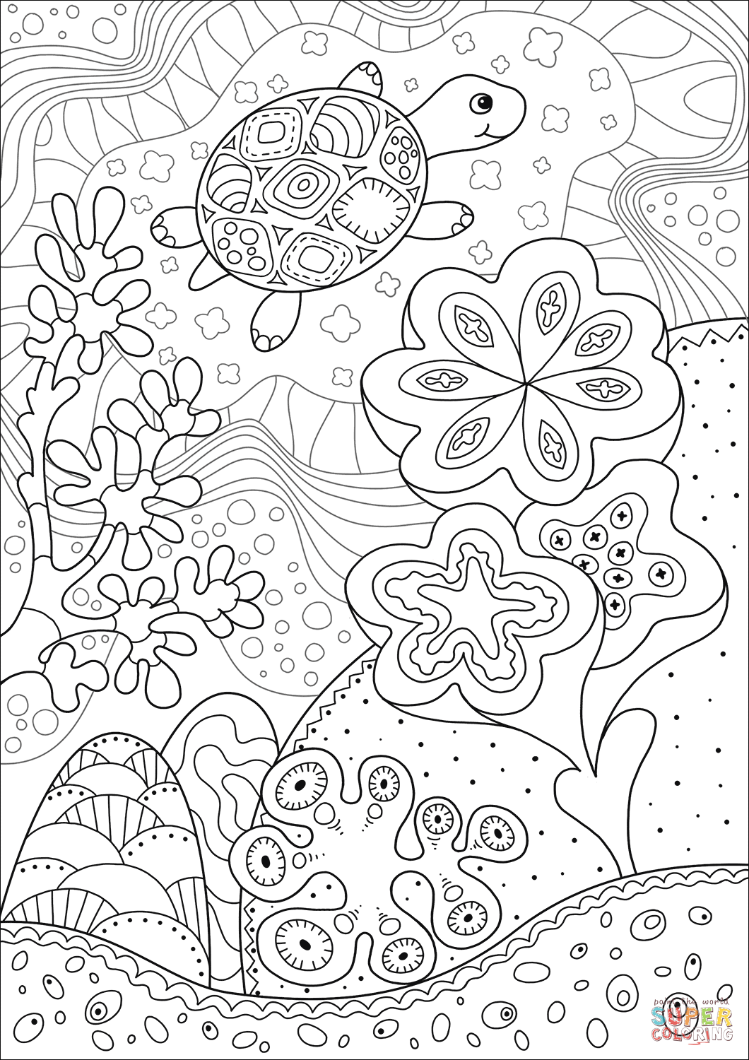 Cute Sea Turtle in Coral Reef coloring page Free