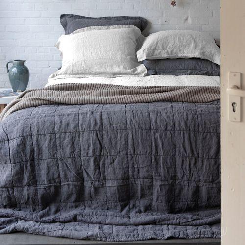 couvre lit plaid lin et coton anthracite ou poudre nice salon pinterest couvre lit plaid. Black Bedroom Furniture Sets. Home Design Ideas