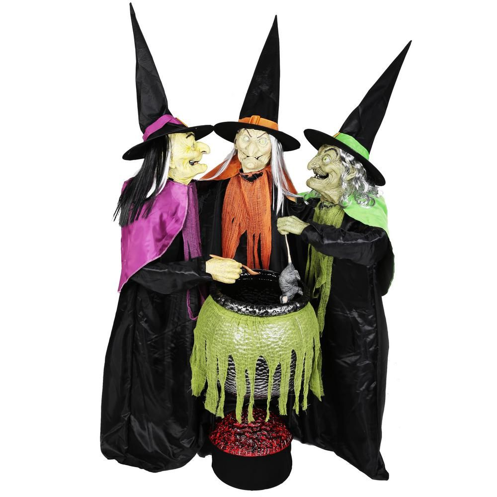 Home Accents Holiday 5.5 Ft. Animated Cauldron Trio