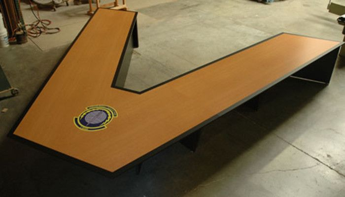 Maple VShaped Conference Table With Video Conferencing War Room - V shaped conference table