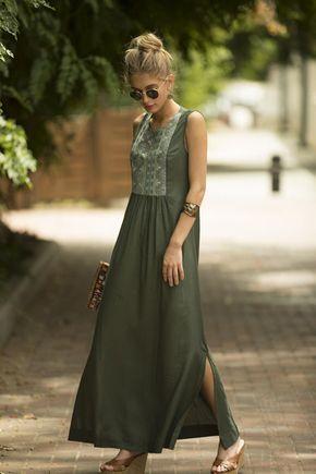 Sage Green Maxi Dress, Long Kaftan Dress, Tribal Ethnic Long Caftan Dress, Olive Green Embroidered D #sagegreendress