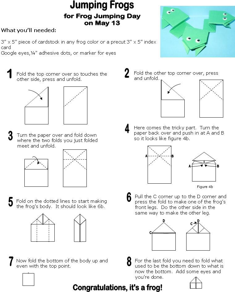 how to make origami frog origami jumping frogs sunday school frog origami frog origami. Black Bedroom Furniture Sets. Home Design Ideas