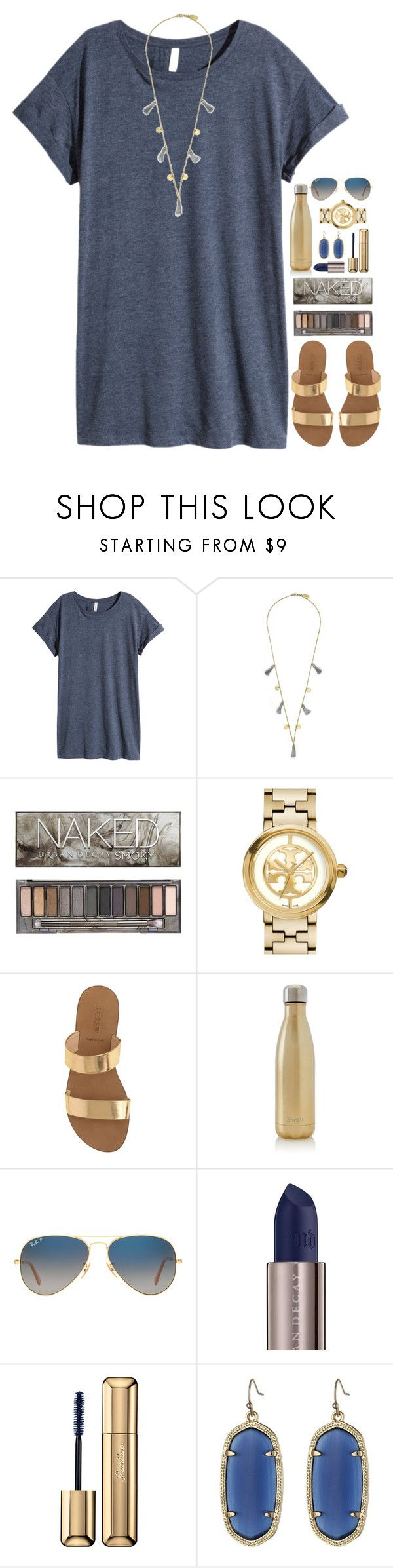 göldën by julesamber ❤ liked on Polyvore featuring HM, Feather  Stone, Urban Decay, Tory Burch, J.Crew, Swell, Ray-Ban, Guerlain and Kendra Scott