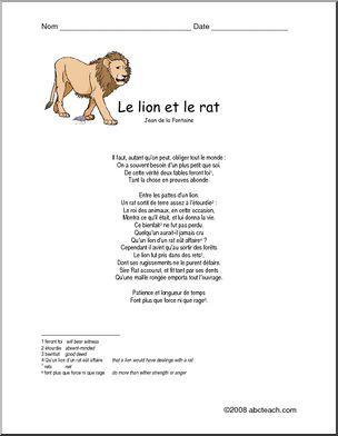 """Le Lion Et Le Rat Esope : esope, Fable, Fontaine,, """"Le, Rat""""., Avancé, Writing, Forms,, Reading, Comprehension,, Teachers"""