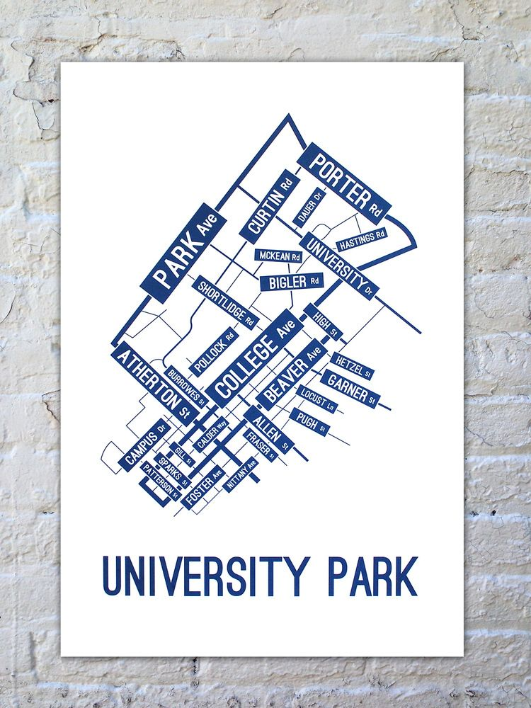 University Park Street Map Poster School Street Posters We Are