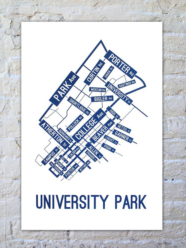 University Park Penn State Map.University Park Street Map Poster School Street Posters We Are