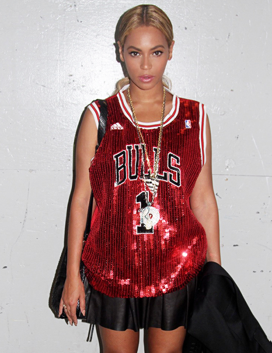 2  Beyonce's DIY by Panida Sequined Bulls Jersey and Christian Louboutin Confusalta T-Strap Platform Peep Toes