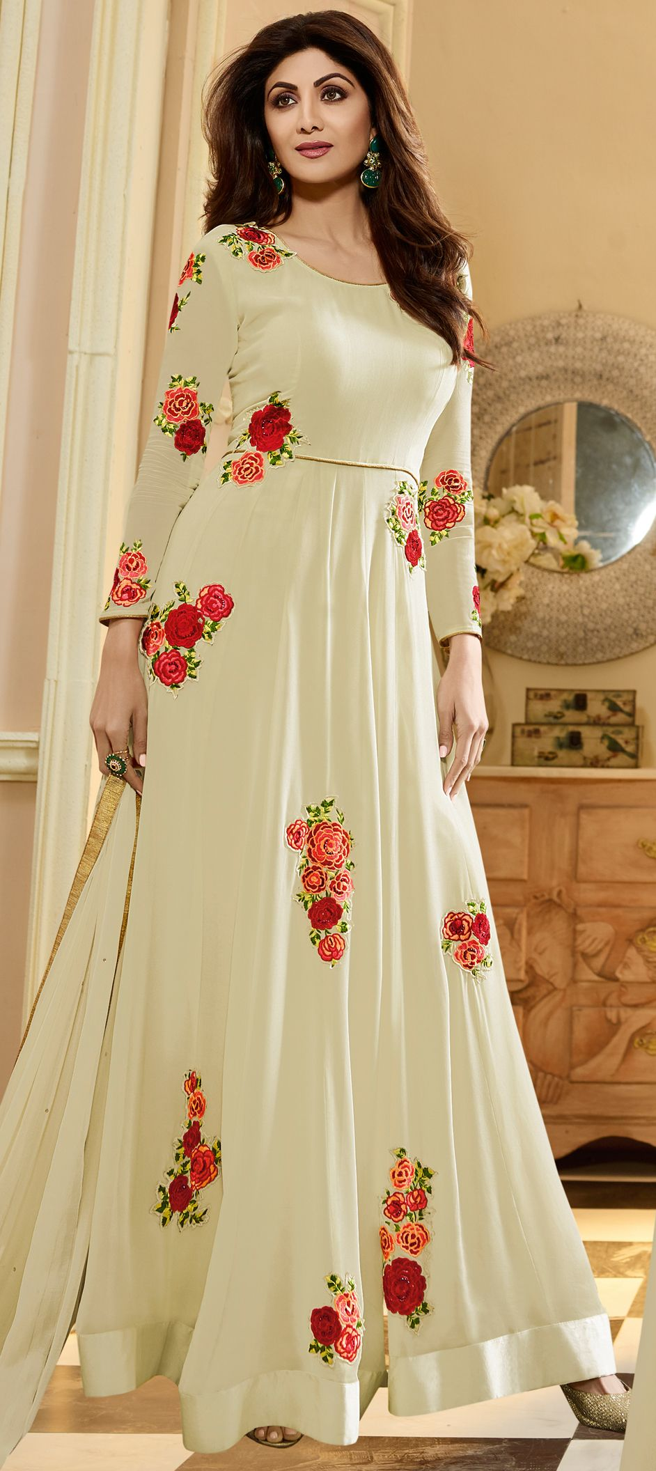 50a8b281ad9 498471  White and Off White color family semi-stiched Bollywood Salwar  Kameez .