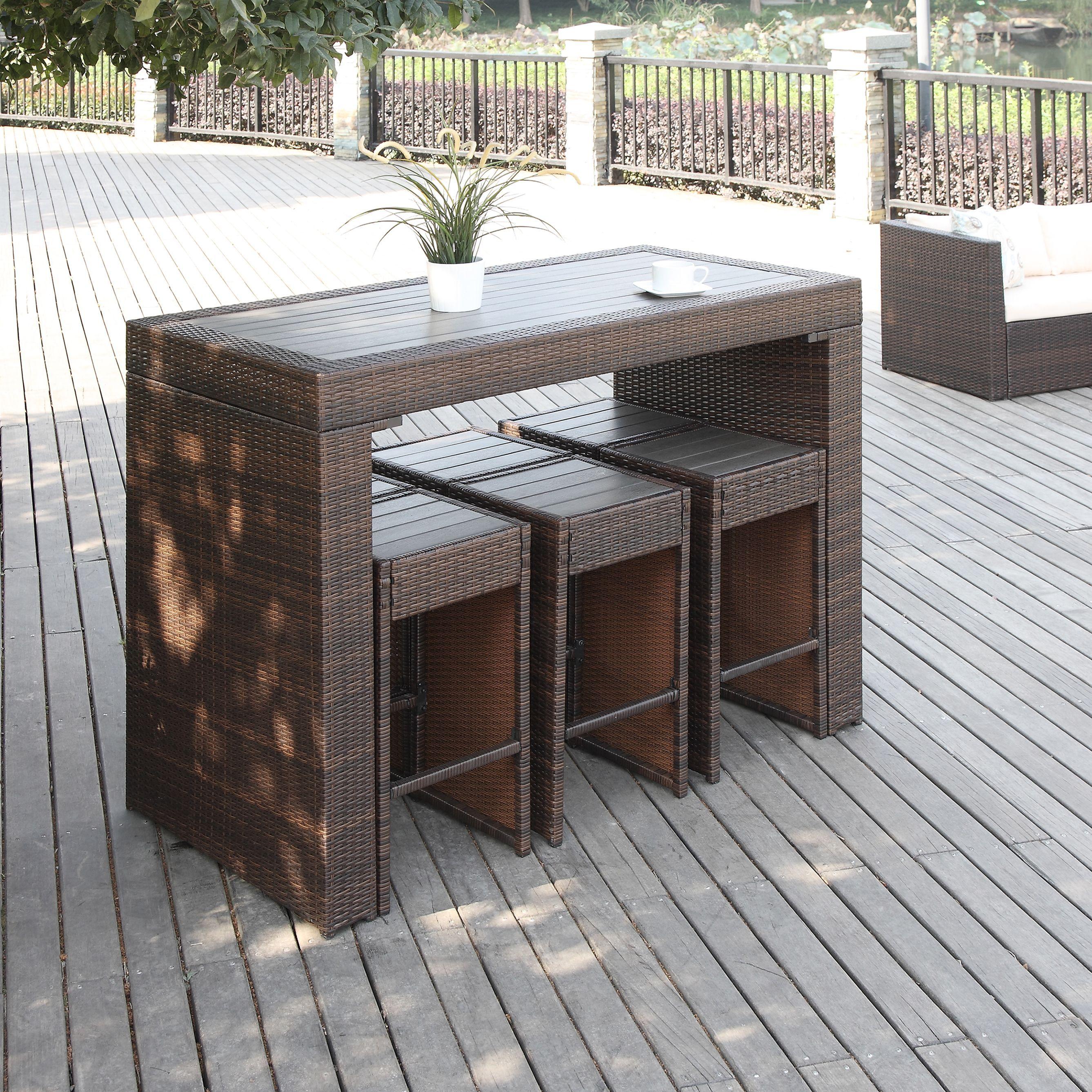 Handy Living Aldrich Brown 7 Piece Indoor Outdoor Resin Rattan
