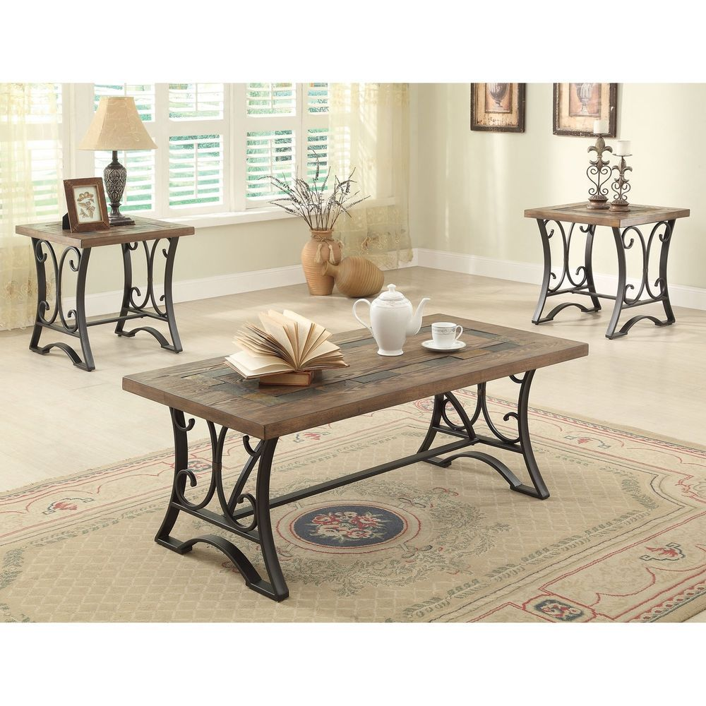 Coffee table set 3 piece rustic wood metal 2 end tables