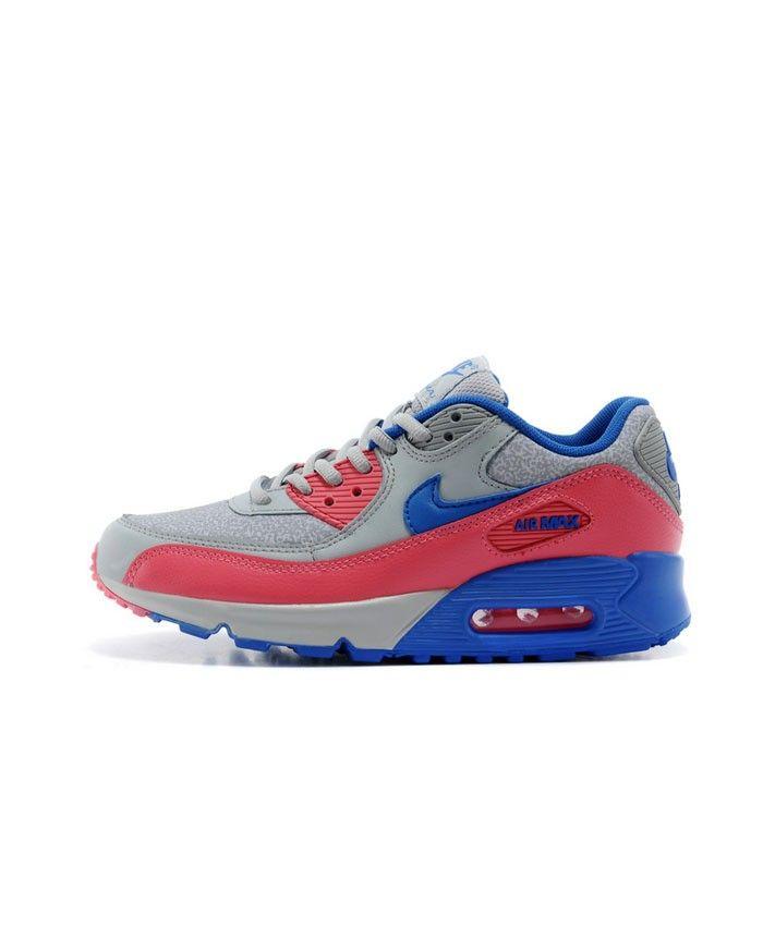 Femme Nike Air Max 90 Gris Bleu Rouge Chaussures   Nike air