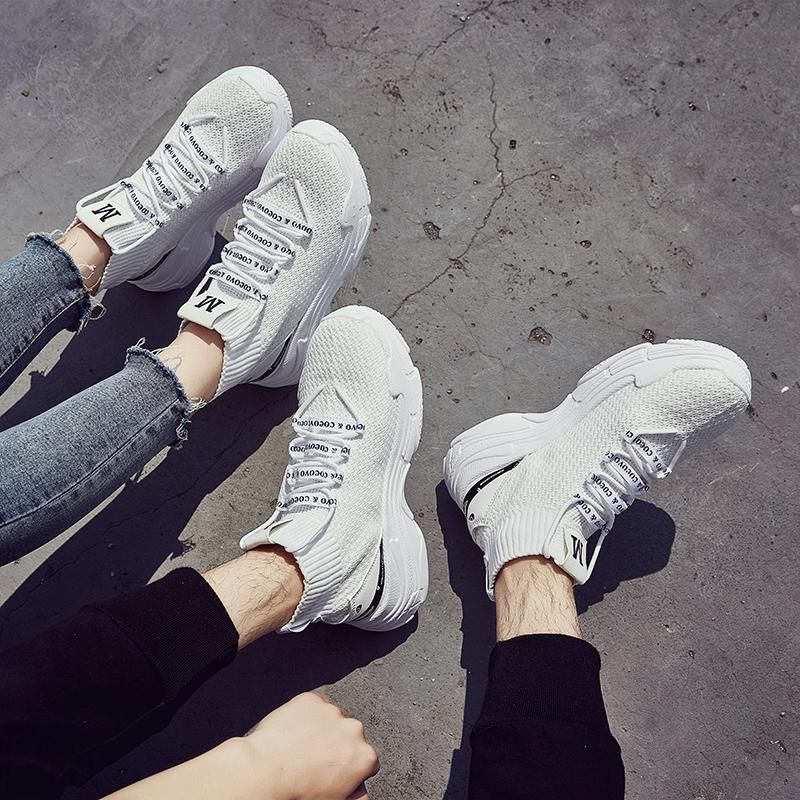 f441644bde4 ADBOOV High Top Sneakers Men Unisex Knit Upper Breathable Shoes Fashion  Shark Logo Couple Black   White Shoes Shoes Casual