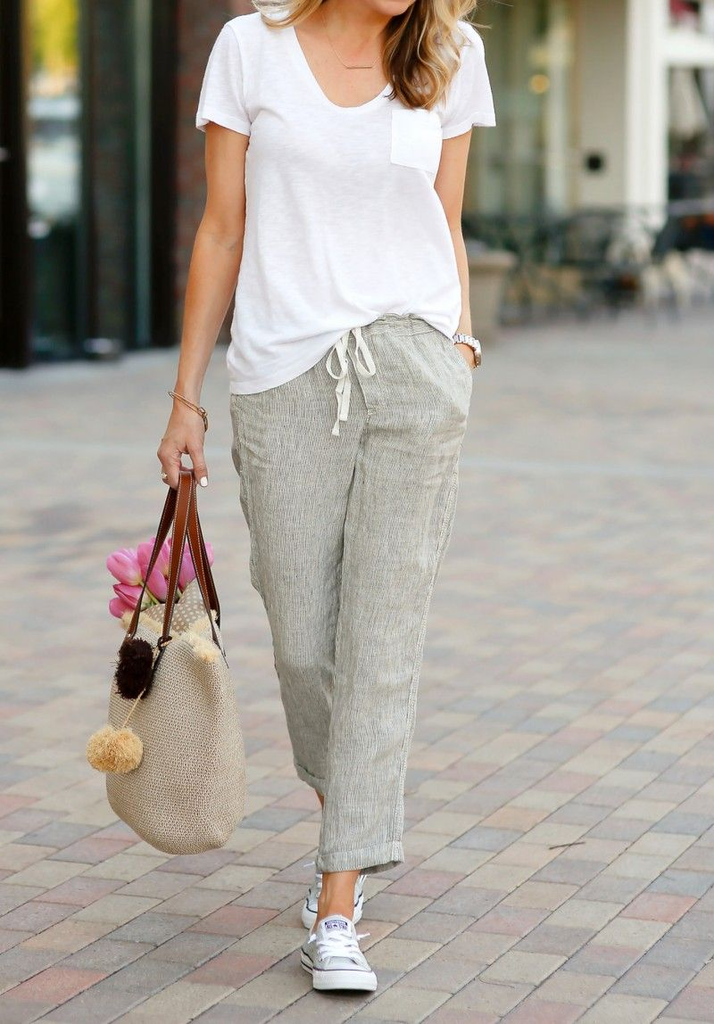 e834d087da When the summer turns on the hyumidity...I think linen: Linen pant,  Converse sneaker, white t-shirt
