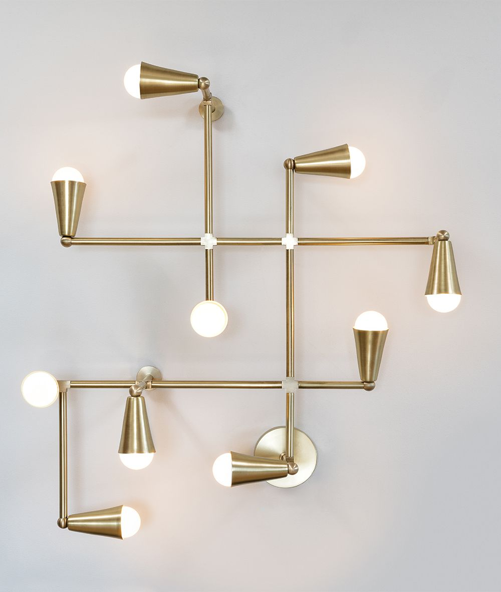 Zig zag light sculpture for wall or ceiling in solid brass made in toronto
