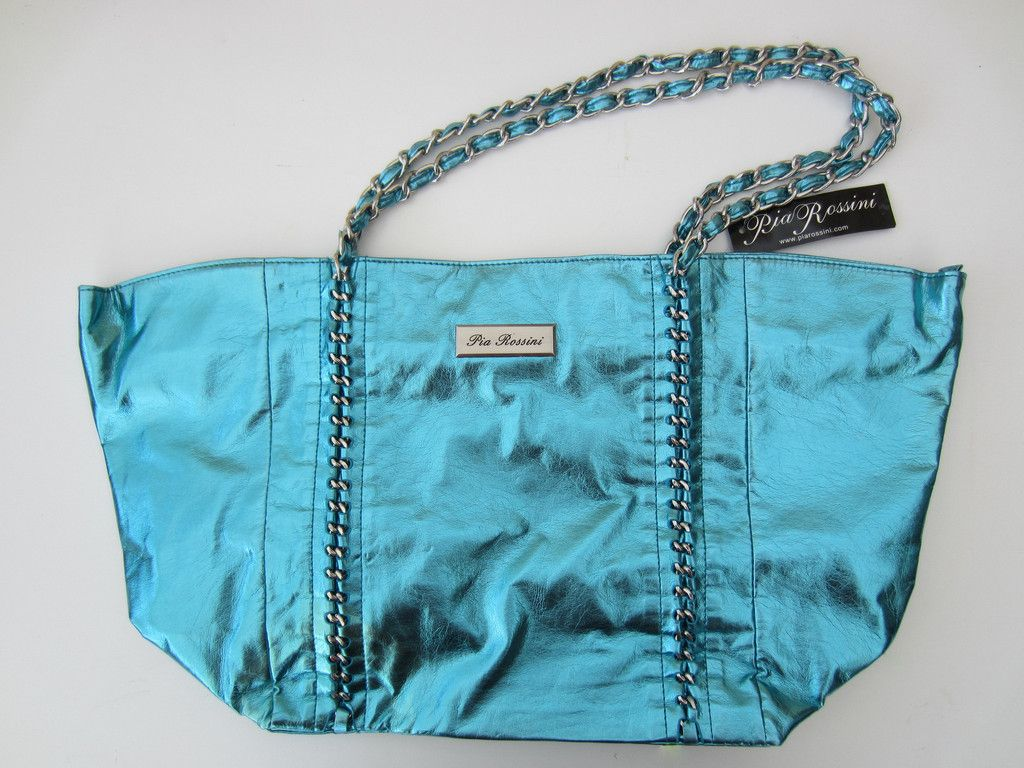 Designer Tote Handbag Shopper Metallic By Pia Rossini Blue Turquoise Holiday Bag