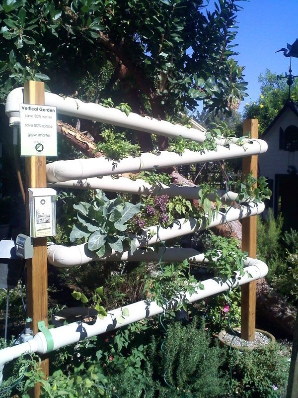 Vertical Veggie Garden Idea! I Like It:) · Pvc PipesSmall ...