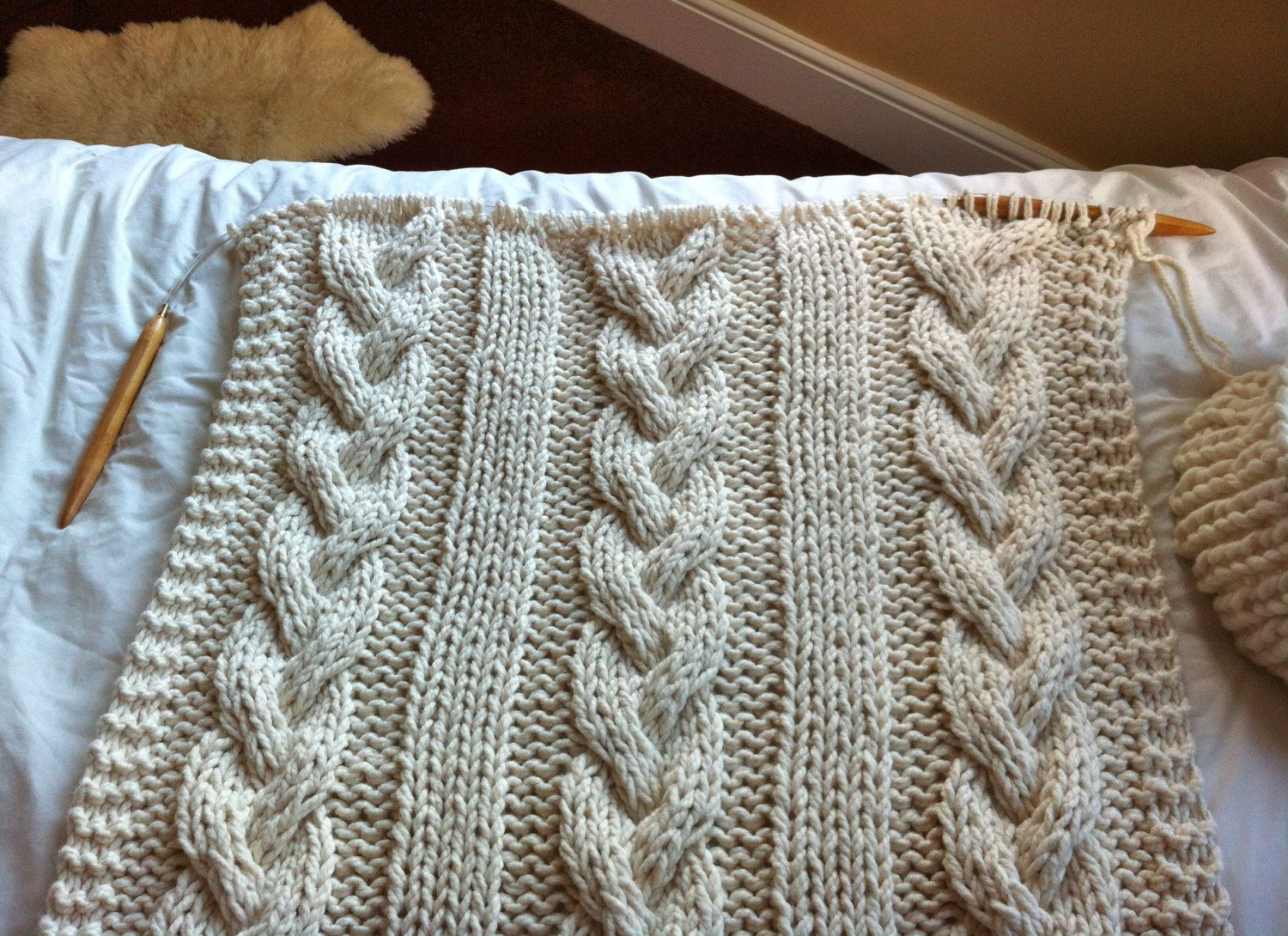 Giant Cable Knit Blanket or Throw by Knittingrev on Etsy | Projects ...