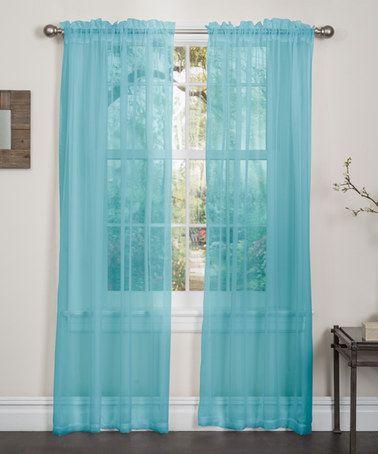 Love This Aqua Lisa Sheer Curtain Panel