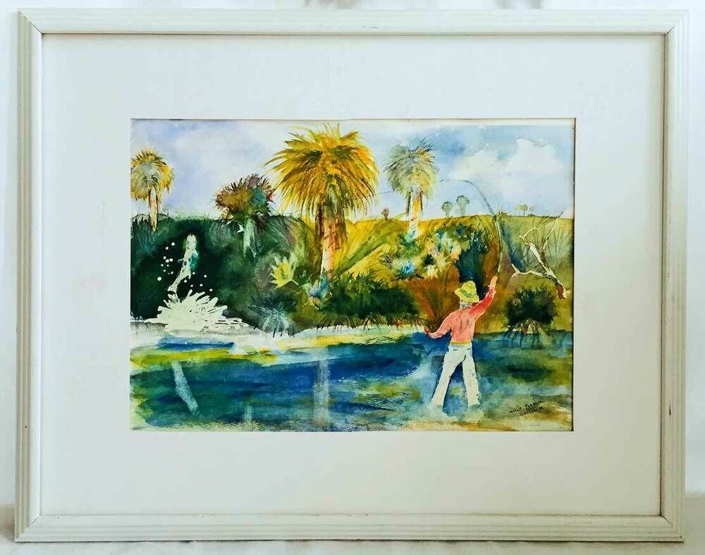 Fly Fisherman Tarpon Fishing Original Painting Florida Poddick