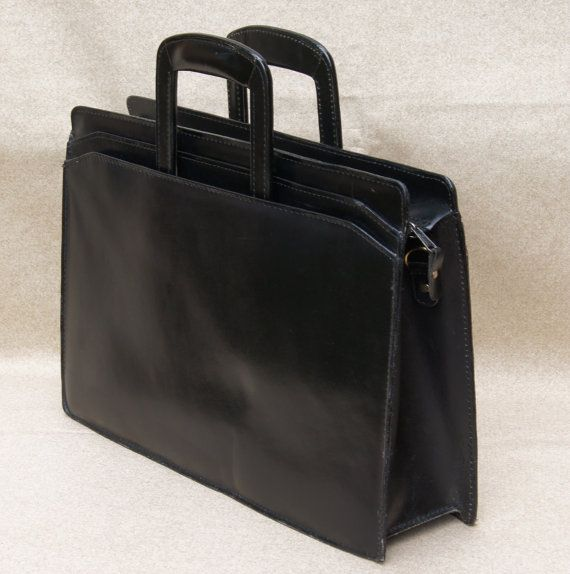 Black Leather Portfolio Briefcase Tote Professional Business School College Messenger Bag