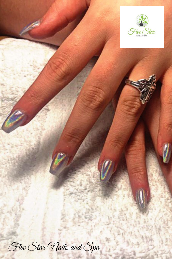 Fabulous Chrome Nails Done By Our Nail Tech Cindy Come Visit Us Five Star Nails And Spa And Let Us Do Your Nails Five Star Nails Star Nails And Spa