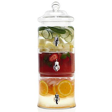 Cucumber water, iced tea and lemonade? Margarita, sangria and chardonnay? Trio Beverage Dispenser, $69.95
