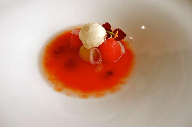 Parade Ring, Ascot: Heirloom tomato and basil salad,  mozzarella ice-cream, tomato and lemon thyme tea