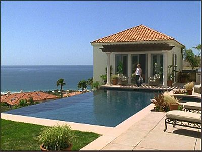 The infinity pool pool house with an ocean view from for Pool design tv show