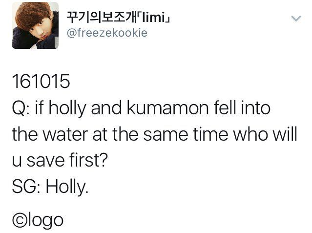 cause of death:BTS retweeted: YOONGI ACTUALLY CHOSE HOLLY OVER KUMAMON MARK THIS DAY IN YOUR CALENDARS FOLKS
