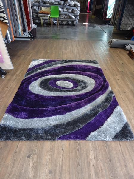 2piece set handmade purple u0026 gray dimensional shag area rug with hand carved