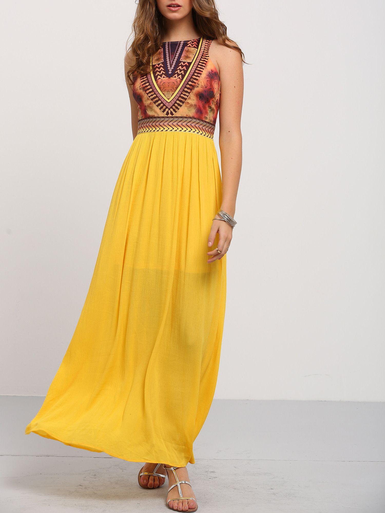 Golden+Sleeveless+Vintage+Print+Maxi+Dress+26.99
