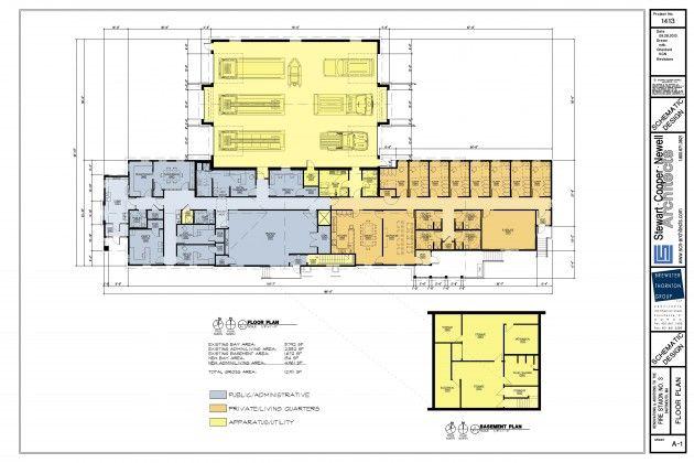 Sd floor plan fire station pinterest for Fire station floor plans design