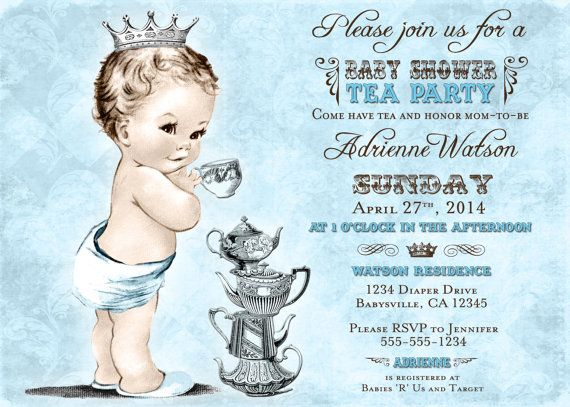 Tea Party Baby Shower Invitation For Boy   Prince   Crown   Blue   Free  Customizable  Free Customizable Printable Baby Shower Invitations