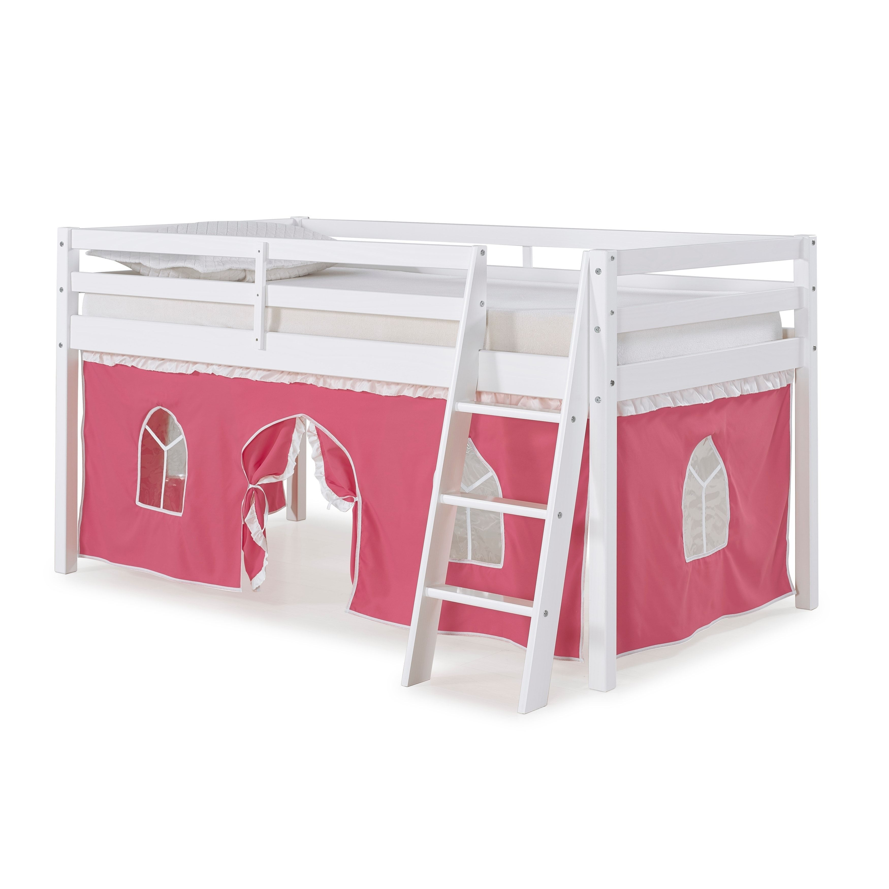 bolton furniture roxy white wood twin junior loft bed with pink and
