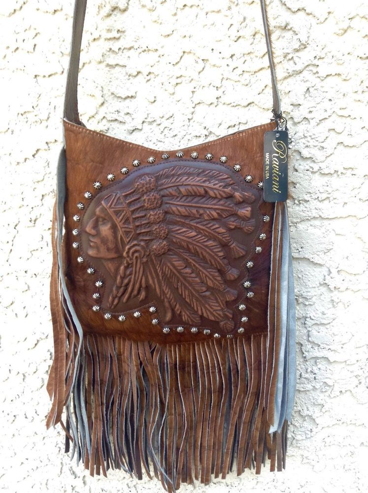 e138ccc039 Raviani Indian Head Native Western Leather Hide Cross Body Handbag Purse  Fringe  Raviani  MessengerCrossBody