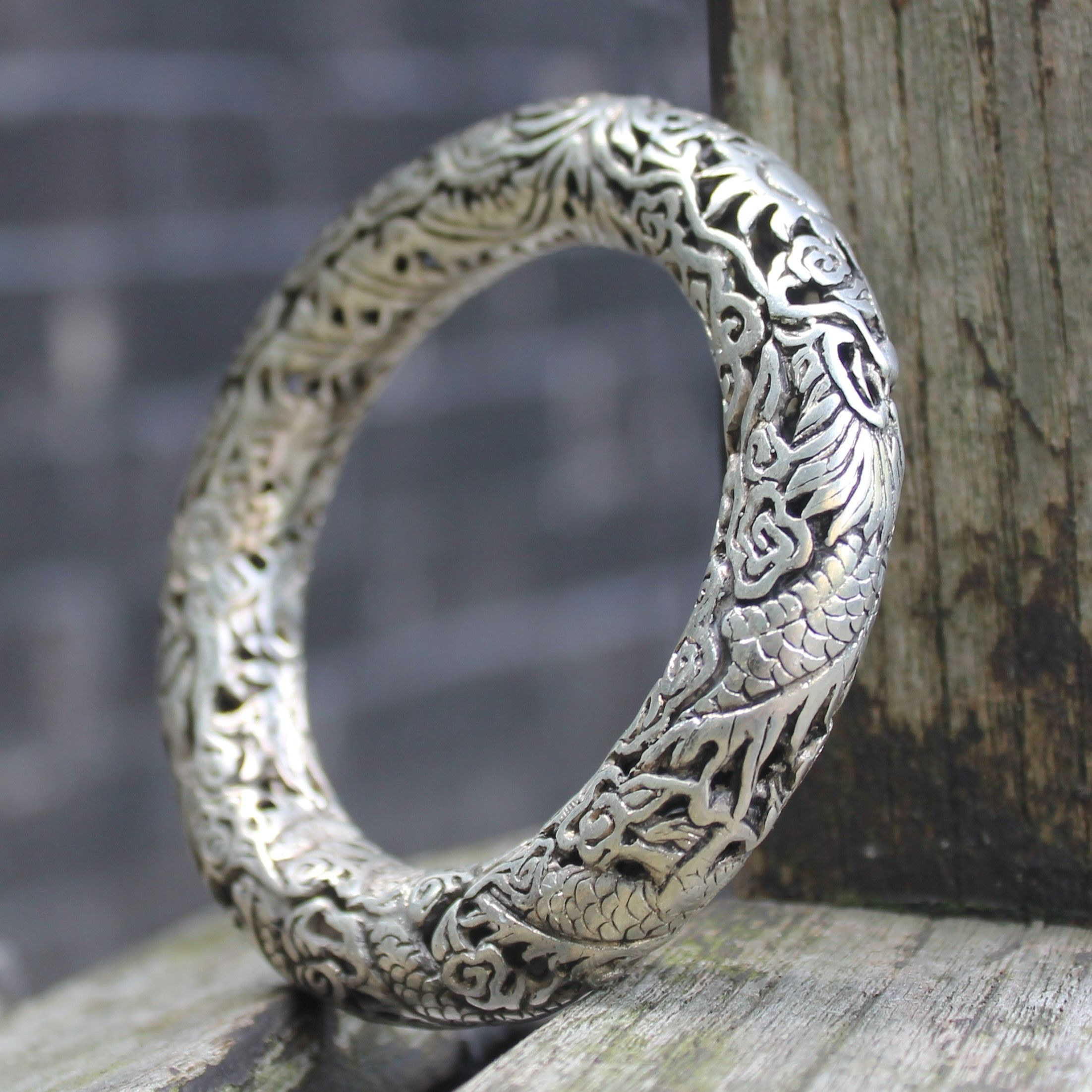 A-pair-Chinese-Miao-silver-dragon-cuff-Bangle-bracelet