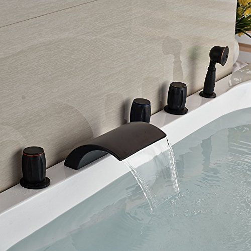 Senlesen Oil Rubbed Bronze Widespread Bathroom Tub Faucet Deck Mount