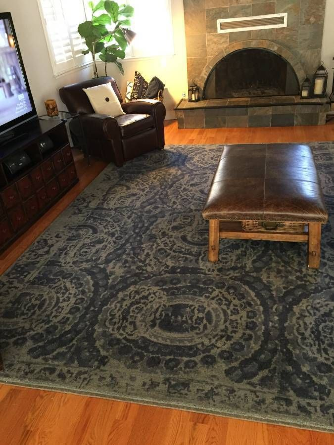 Pottery Barn Bosworth Printed Medallion 9 X 12 Plush Wool Area Rug Blue Home Garden Rugs Carpets Ebay